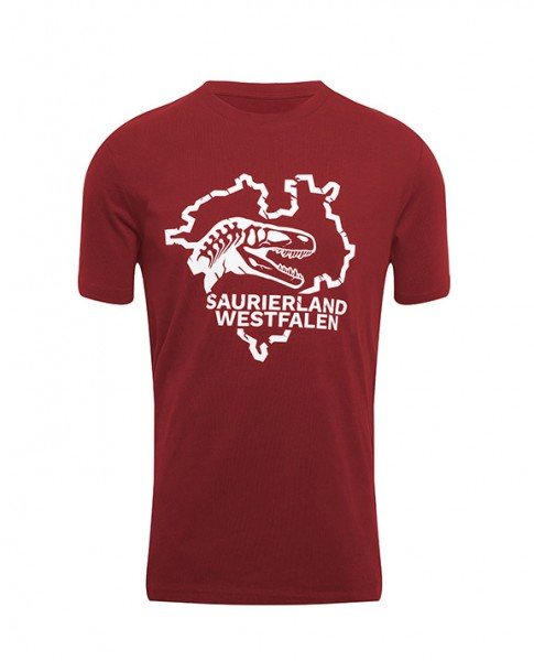 """T-Shirt """"Saurierland Westfalen"""" Weinrot"""